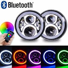 ring light effect app wrangler 7 60w rgb haloled round headlight assemblies multicolor