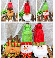 How To Decorate A Wine Bottle Christmas Decorations Wine Bottle Cover Bags Decor Banquet Santa