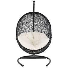 Rattan Hammock Chair Furniture Black Wicker Rattan Swingasan Chair With White Cushion