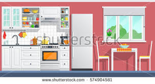 Indoor Kitchen Kitchen Interior Table Stove Cupboard Dishes Stock Vector
