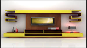 Lcd Tv Wall Mount Cabinet Design Modern Furniture 3d Model Yellow And Wood Tv Wall Unit Design