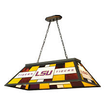 tiffany pool table light imperial 3 light black louisiana state university stained glass