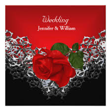 Red And Silver Wedding Black Red And Silver Wedding Invitations U0026 Announcements Zazzle