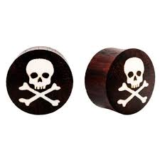 skull crossbones sono wood and bone flared ear plugs