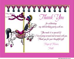 vintage carousel thank you cards birthday classic horse