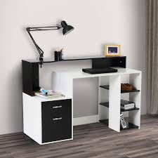 Compact Secretary Desk by Homcom Compact Computer Table Multipurpose Workstation Storage