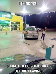 Gas Station Meme - girl driving at gas station car forget funny gas funny