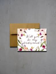 Wedding Wishes Envelope Fall Watercolor Flower Will You Be My Bridesmaid Will You Be My