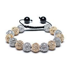 swarovski silver crystal bracelet images Shamballa inspired bracelet golden silver crystal balls 12mm jpg