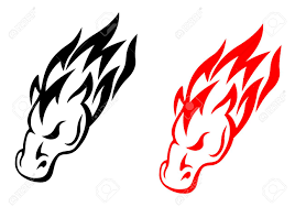 tribal horse head in red and black versions for tattoo design