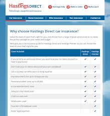 hastings direct car insurance homepage screenshot