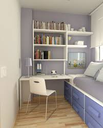 sweet narrow bedroom for with white book storage on pink wall