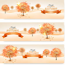 beautiful autumn tree banners vector material 01 vector banner