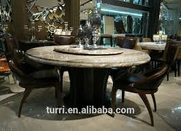 dining table with rotating luxury wooden base dining table with travertine top view