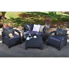 keter corfu charcoal all weather outdoor patio armchair with