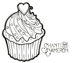 black heart on cupcake tattoo stencil by shanti cameron