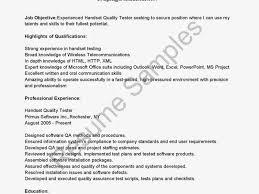 Testing Resume Format For Experienced Qa Testing Resume Lukex Co