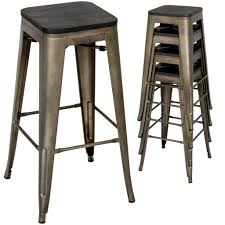 best choice products industrial style set of 4 steel bar stools w woo best choice products industrial style set of 4 steel bar stools w wood top