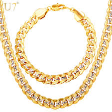 gold tone necklace set images Buy u7 men jewelry set two tone gold color hip jpg