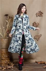 Womens Winter Coats Plus Size Chinese Style Women Trench Coat Extra Long Vintage Embroidery