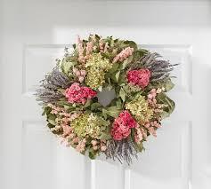 hydrangea wreath live lavender hydrangea wreath pottery barn