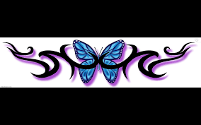 blue butterfly and tribal lowerback design picture clip