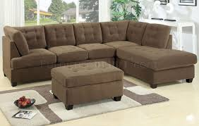 Tufted Sectional Sofas F7140 Reversible Tufted Sectional Sofa In Truffle Suede By Poundex