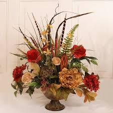 floral home decor silk flower arrangement with feathers u0026 reviews