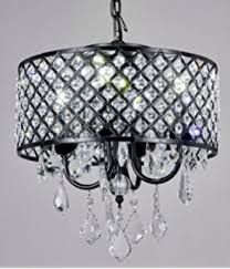Chandelier With Black Shade And Crystal Drops Black Drum Shade Crystal Chandelier Pendant Light Ceiling