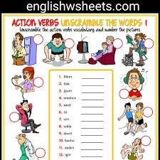 action verbs esl printable unscramble the words worksheets for