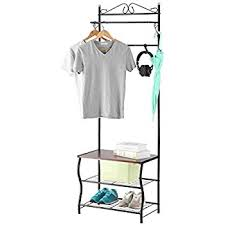 amazon com entryway white metal storage bench and coat rack