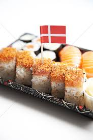 Denmark Flag Color Meaning Sushi Food On Tray With Danish Flag Against White Background Stock