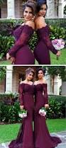 2017 mermaid long sleeve lace long burgundy bridesmaid
