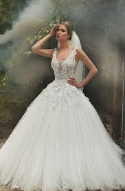 2017 lace ball gown wedding dresses scoop neck applique beaded