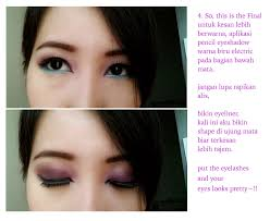 Aplikasi Eyeshadow Sariayu riikaag makeup be bold with purple and blue makeup
