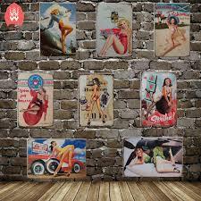 pin up girl home decor pinup girl tin sign metal posters retro vintage wall art home