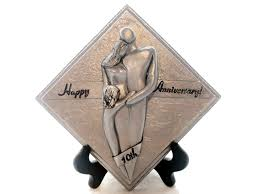 tin aluminum anniversary gifts happy 10th anniversary family of three plaque tin aluminum