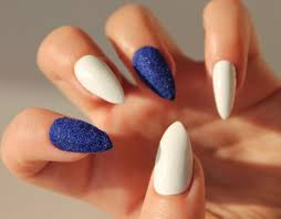 British Flag Nails Blue Valvet And White Fake Nails Set Of Handpainted False