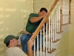 Stair Banisters And Railings How To Install New Stair Treads And Railings How Tos Diy