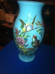 Antique Hand Blown Glass Vases Antique Footed Bristol Glass Vase Clambroth Color Hand Painted