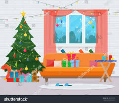 christmas room interior christmas tree sofa stock vector 492307918