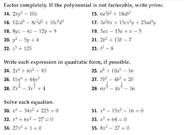 Factoring Expressions Worksheet Algebra Two Assignment 19 Factoring Polynomials