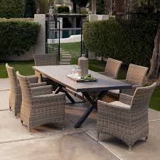 all weather dining table bella all weather wicker patio dining set seats 6 patio dining