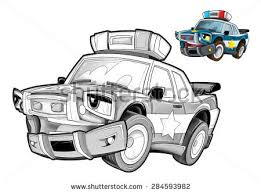 cartoon police car caricature coloring stock illustration