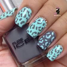 mint and gray leopard nails the crafty ninja