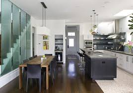 modern kitchen island with seating white wooden laminated flooring