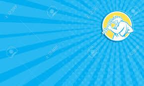 business card showing illustration of zeus greek god of the
