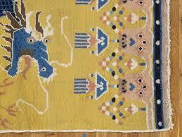 Handmade Wool Rug Antique Chinese Runner Yellow And Blue Runner Handmade Wool Rug
