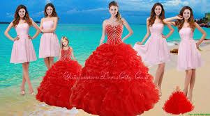 2015 ruffled red quinceanera dress and baby pink strapless prom