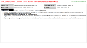 Sports Resume Sample by Professional Sports Scout Resume Sample
